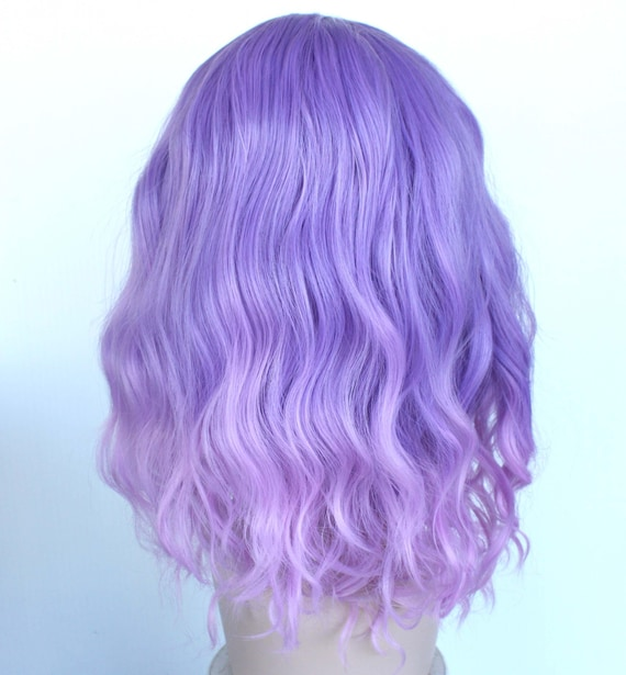 Orchid Lavender Curly Ombre Wig Orchid Shoulder Length Hair Party Wig For Women Ready To Ship Black Friday Sale