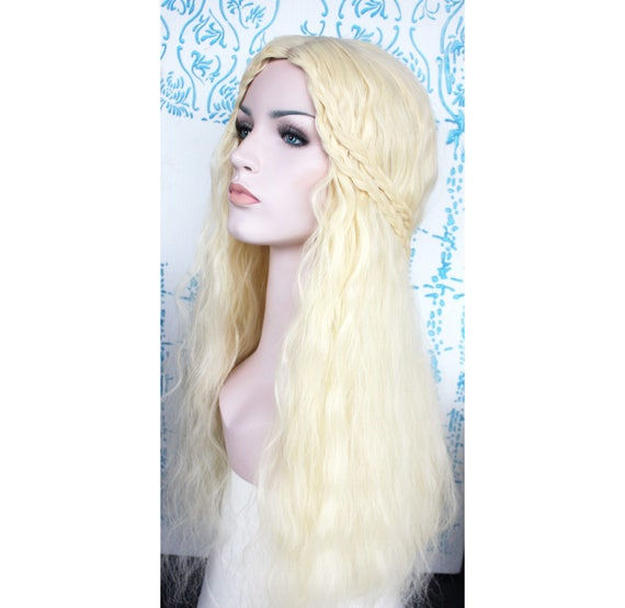 Pale blonde ivory long cosplay wig. Halloween cosplay wig for  d91adcab0