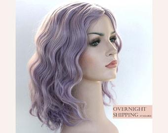 Dusty lilac shoulder length wavy wig. Taro wig. Lavender wig. Purple wig. Ready to ship.