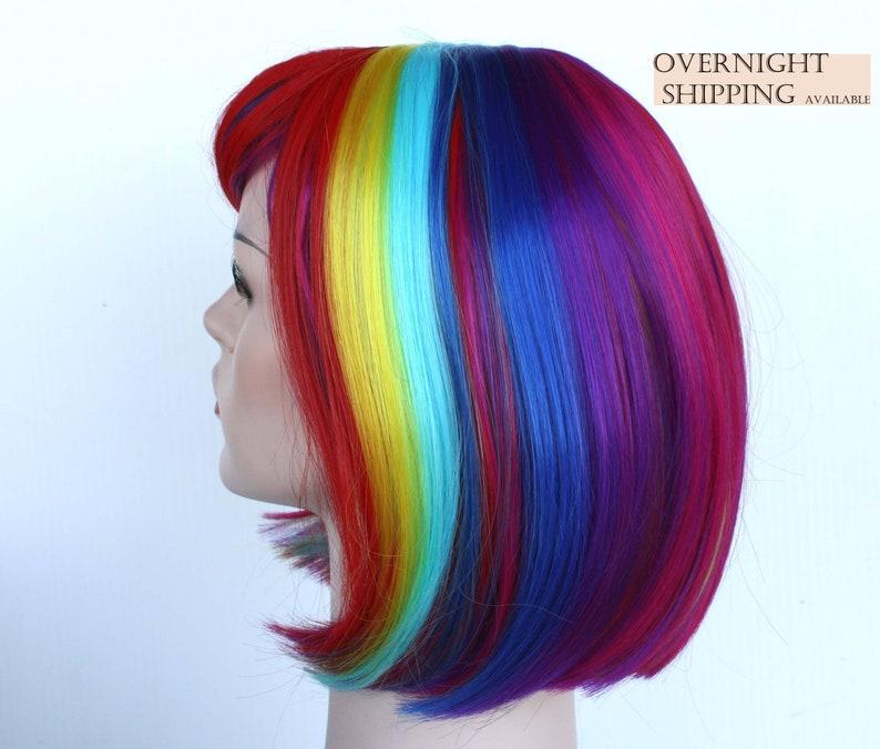Rainbow Rainbow Bob Perucke Fur Frauen Bunte Kurze Haare Halloween Partywig Fur Sie Halloween Kostumwickung Auf Bestellung