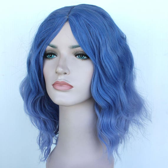 Dusty Blue And Light Dusty Purple Wavy Ombre Wig Pastel Blue Etsy