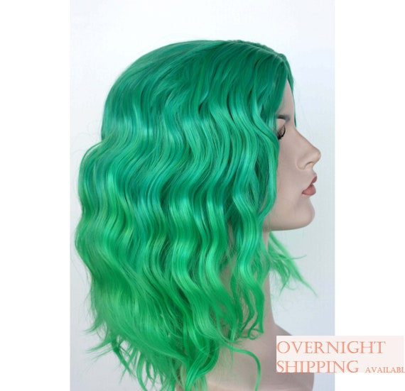 Perfect Green Ombre Wavy Wig Green Shoulder Length Hair Etsy