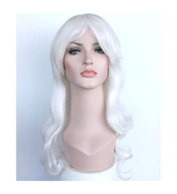 Women s Halloween costume wig. Perfect long white curly  54dcc62c55