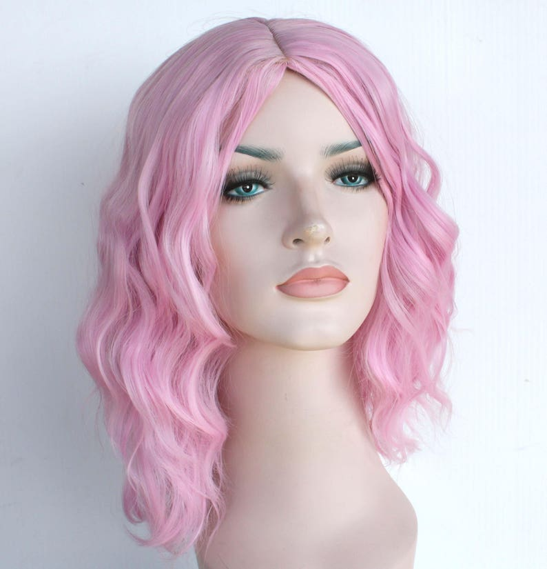 Pink wavy wig. Pink shoulder length hair. Ready to ship.  c40ef7355