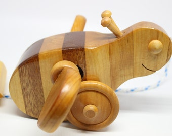 Bizzy: Bumble Bee Wooden Pull/Push Toy with Spinning Wings