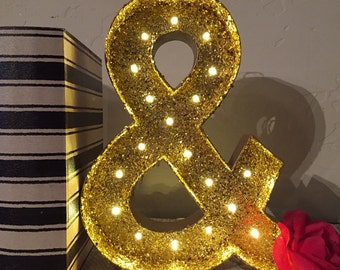 Marquee Ampersand-Glitter Marquee Letter-12 inch Ampersand Symbol-Light up Letters-Glitter Lighted Letters-Custom Marquee Letter