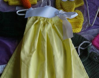Girl's yellow pillowcase dress with ribbon close top, monogram available, toddler,infant, girl, summer, sprin, Easter, dress, boutique