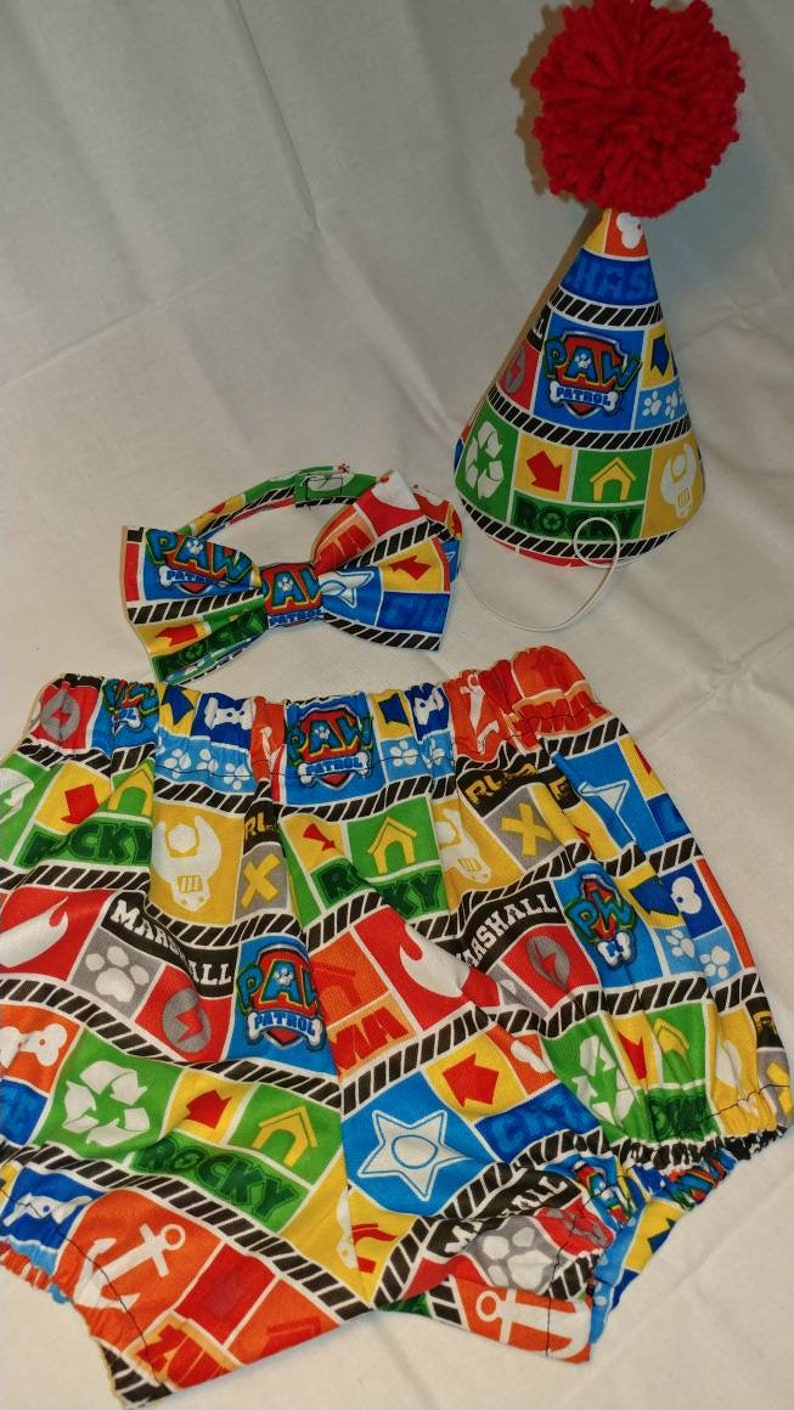 Paw Patrol Inspired 1st Birthday Outfit Party Hat Diaper