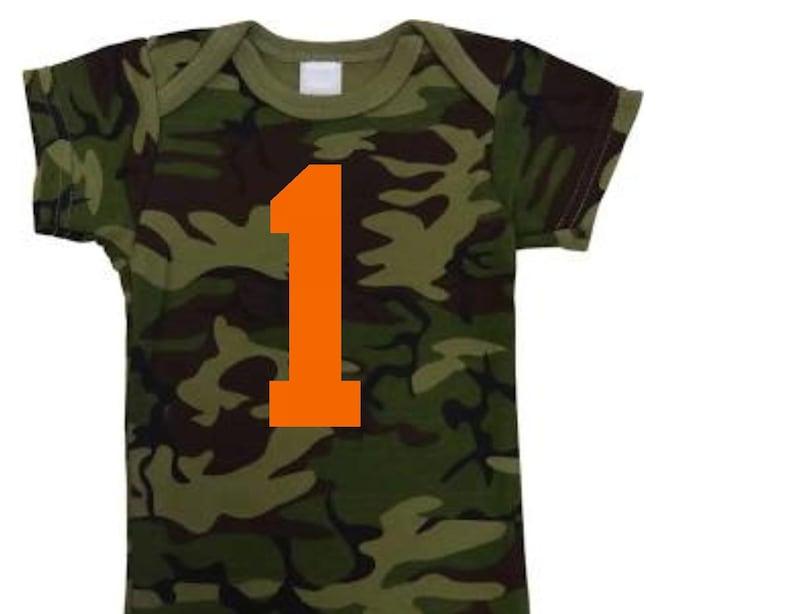 Camouflage and orange 1 1st birthday bodysuit