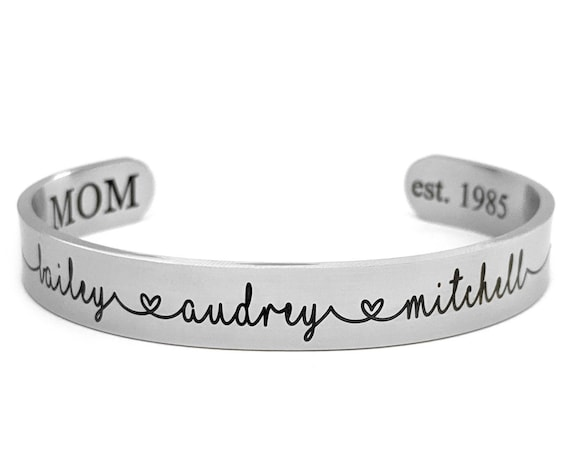 Personalized Names Bracelet Children's Names Bracelet for Mom Grandma Jewelry for Women Gift for Mother's Day Custom Jewelry Wide Cuff