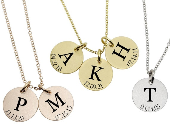 Mothers Gift Delicate Initial Necklace Jewelry for Women Name Bridesmaid Friend Family Children Date Birthdate New Mom Personalized Custom