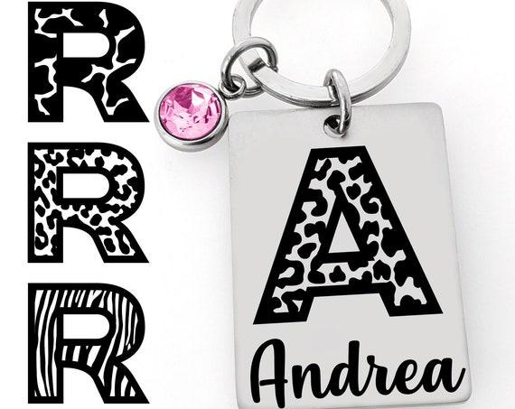 Monogram Keychain - Name Key chain - 3 Styles Cheetah Giraffe Zebra - Birthstone Crystal - Personalized Gift - For Women Animal Print