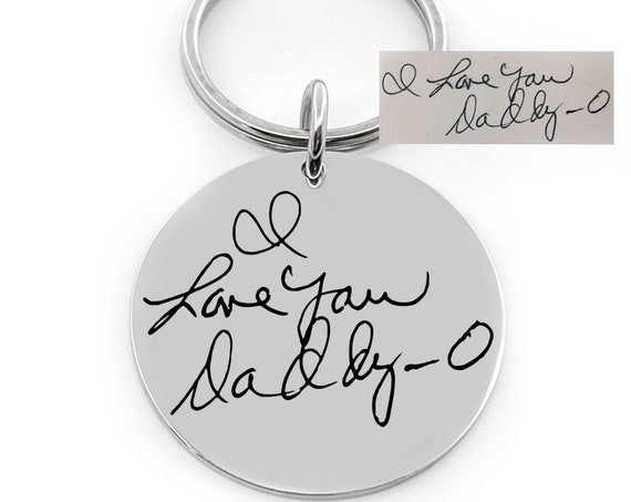 Handwriting Keychain - Actual Handwriting Engraved - Kids Artwork Jewelry - Handwritten Note Message Loved One - Actual Signature Key Chain