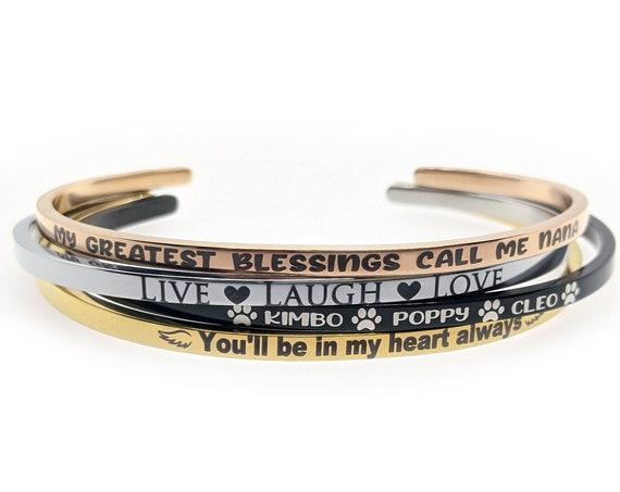 Personalized Cuff Bracelet, Silver Gold Rose Black, Skinny Bangle, Thin Cuff, Engraved Bracelet, Custom Name Jewelry, Inspirational Message