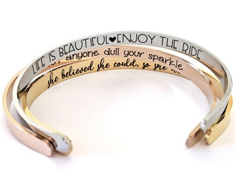 efbf600c6e3 Personalized Cuff Bracelet - Silver Gold or Rose Gold - ANY Message Engraved  - Inspirational Gift - Jewelry For Women