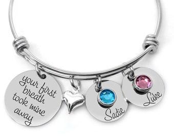 Personalized Jewelry - Your first breath took mine away - Birthstone Jewelry  - Custom Bracelet - Engraved Jewelry - Gift For Women - New Mom 2c8754747b