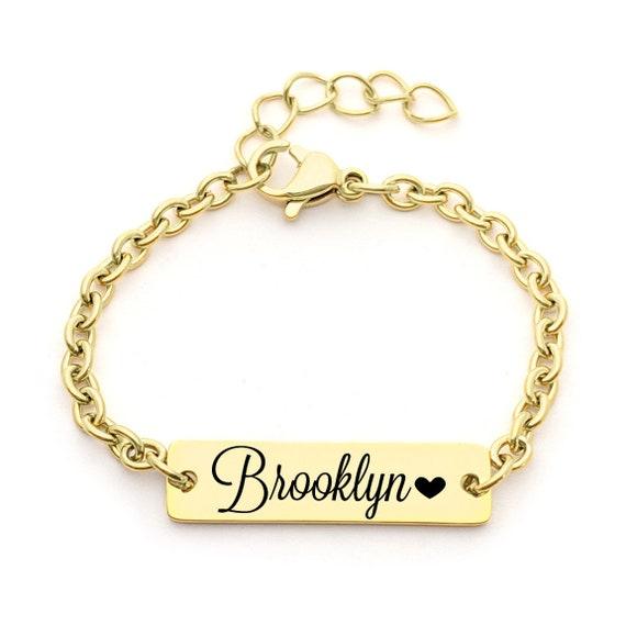 Personalized Dainty Baby Name Gold Bar Bracelet - Hypoallergenic - Custom Engraved Babies Name - Newborn to Children Sizes - Infant Bracelet