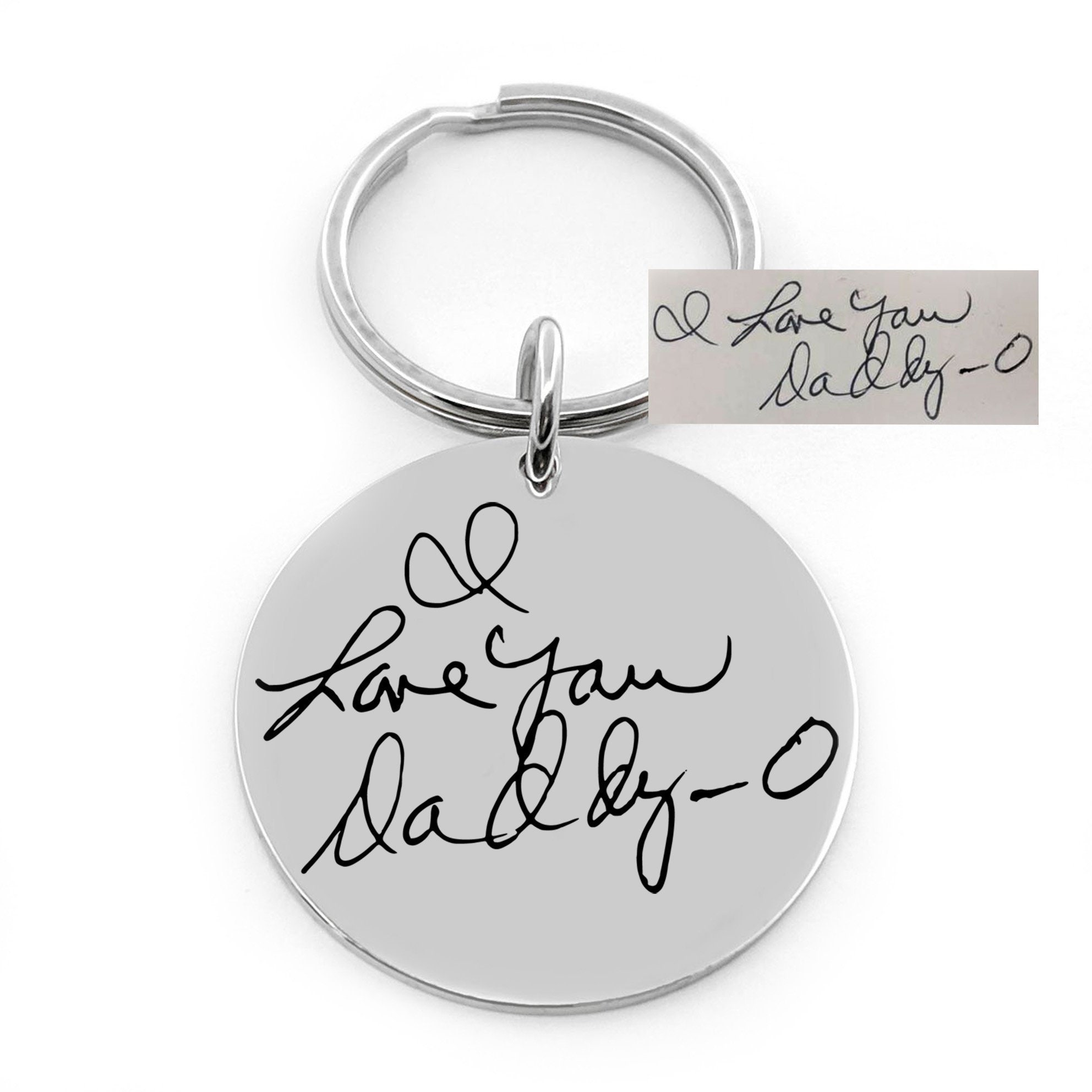 LARGE Actual HANDWRITING signature keychain in SOLID 925 sterling silver