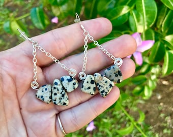 Dalmatian Jasper Healing Crystal Gemstone Warringa with Tarnish Resist Wire and Hypoallergenic Earring Post. Yoga Mala Prayer Jewelry.