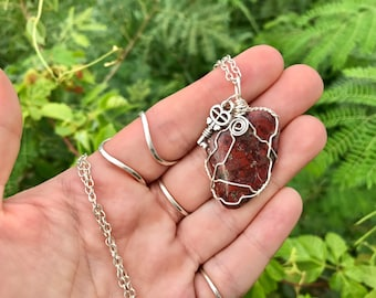 """Wire Wrapped Artistic Jasper Necklace with Tarnish Resist Wire, Key Charm, and 22"""" Chain. Buddhist Healing Gemstone Pendant Necklace."""