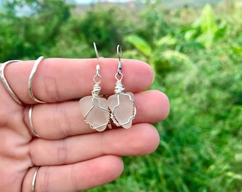Caribbean Sea Glass Wire Wrapped Earrings with Tarnish Resist Silver and Hypoallergenic Posts. Mermaid Crafted in the Virgin Islands