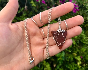 "Caribbean Sea Glass Tarnish Resist Wire Wrapped Necklace with 22"" silver Chain. Made with Essence of the caribbean. Pendant Brown"