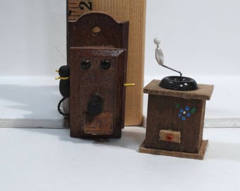 Dollhouse Miniatures - Vintage Wall Phone and Coffee Grinder - Wooden Miniatures