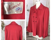 Original 1950s Pink Red Double Breasted Swing Jacket Coat With Glass Buttons Nemco