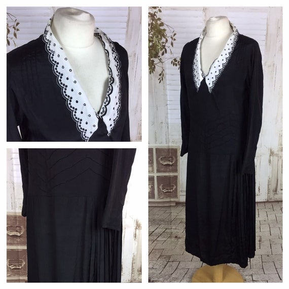 Original 1930s Vintage Black Rayon Dress Pierced W