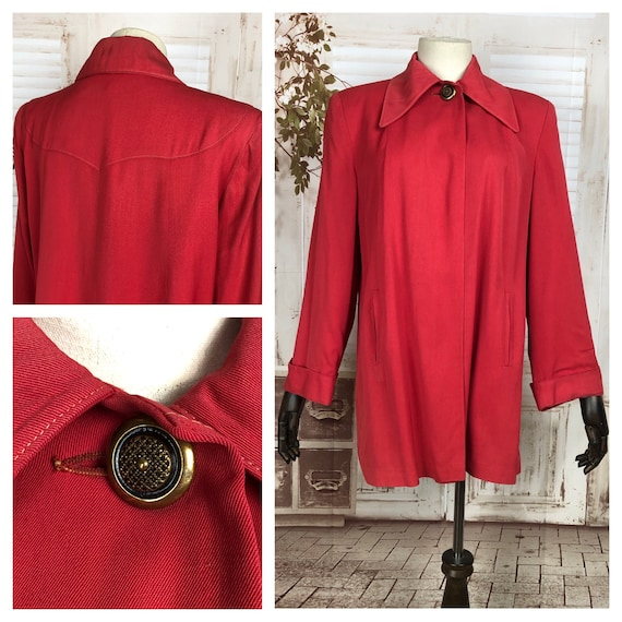 Original 1940s 40s Vintage Red Gabardine Swing Coa