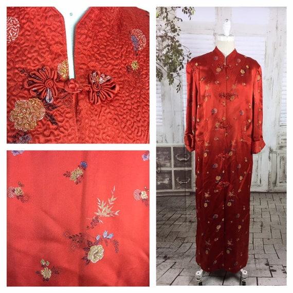 Original 1950s Red Vintage Asian House Coat