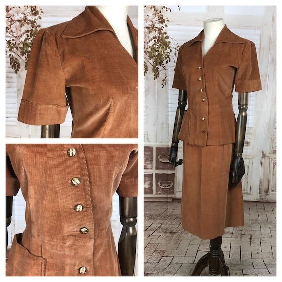 Original 1940s 40s Vintage Rust Corduroy Summer Sk