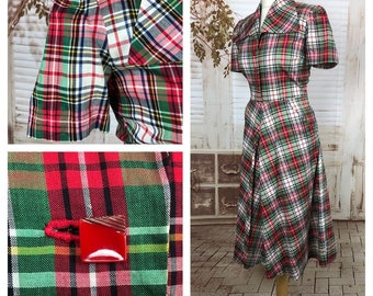 Original 1940s 40s Vintage Red And Green Plaid Dress With Glass Buttons