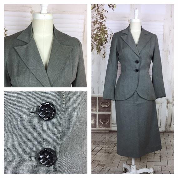 Original 1940s Grey Wool Vintage Skirt Suit Black… - image 1
