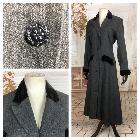 Original 1950s 50s Vintage Grey Princess Coat With