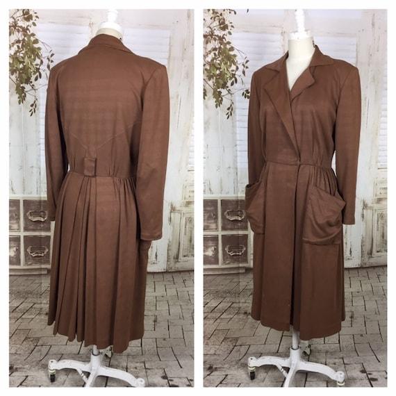 Original 1940s 40s Vintage Brown Gab Gabardine Fau