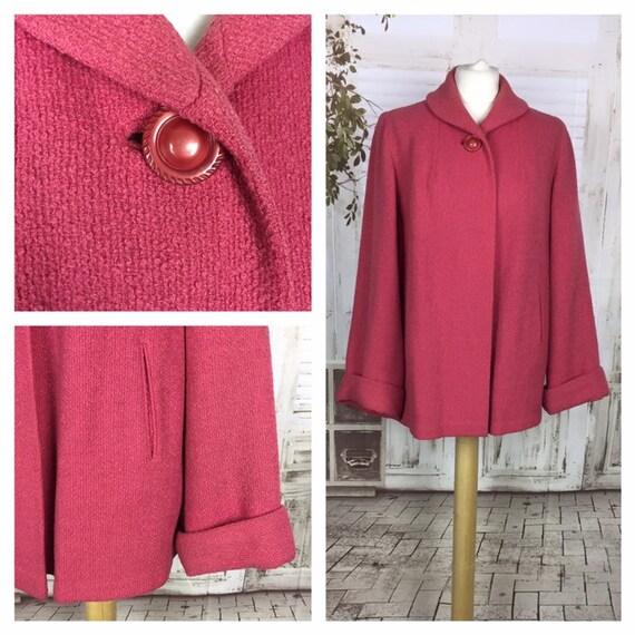 Original 1950s Pink Bouclé Wool Vintage Swing Coat