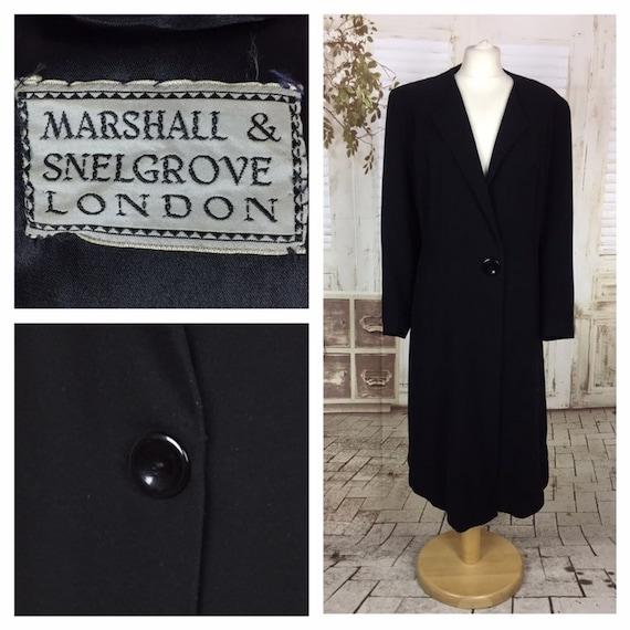Original 1940s 40s Classic Vintage Black Wool Coat