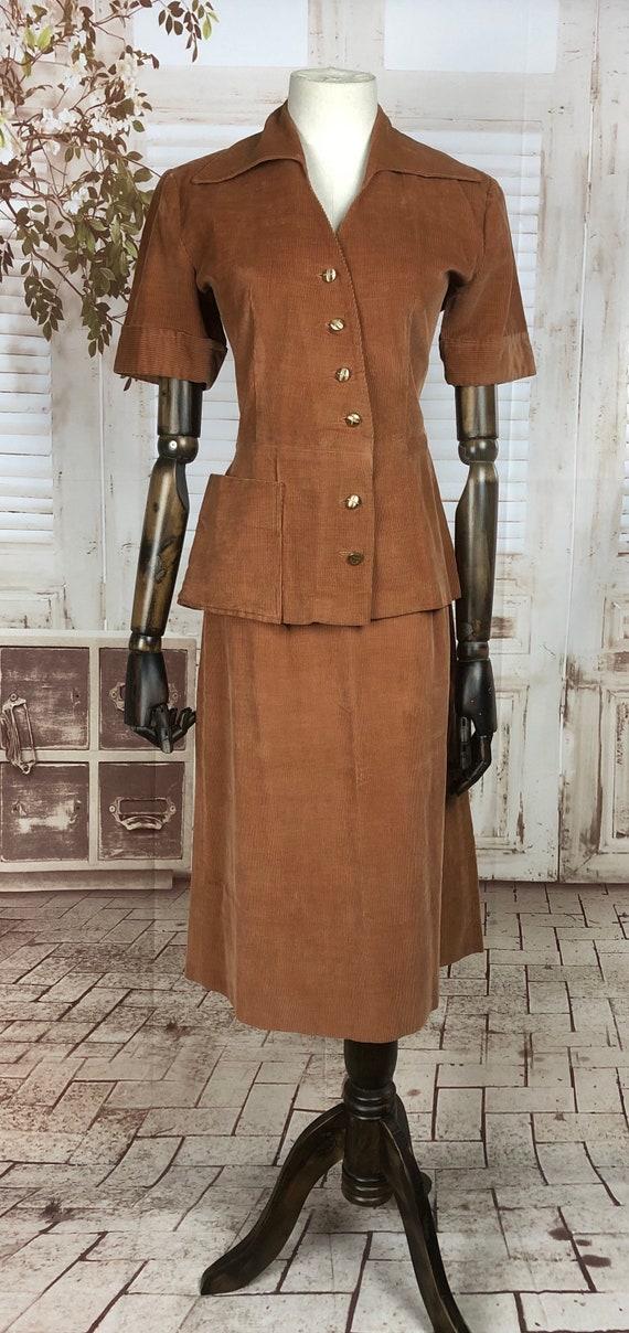 Original 1940s 40s Vintage Rust Corduroy Summer S… - image 2