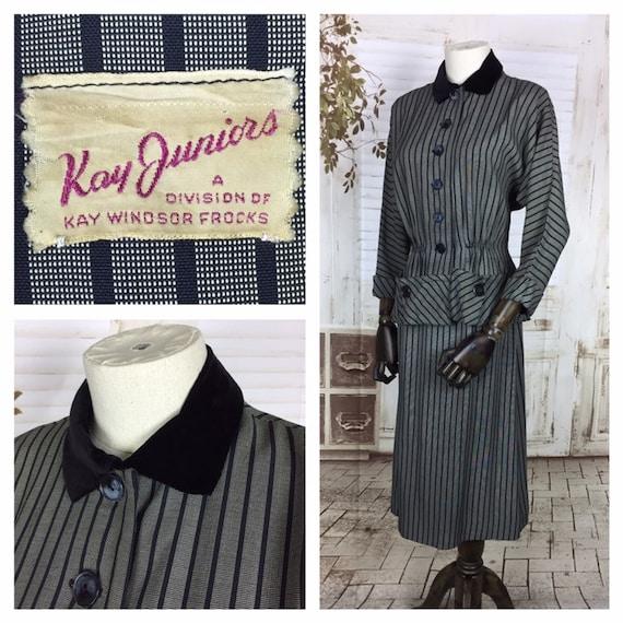 Original 1940s 40s Vintage Silver Grey Black Strip