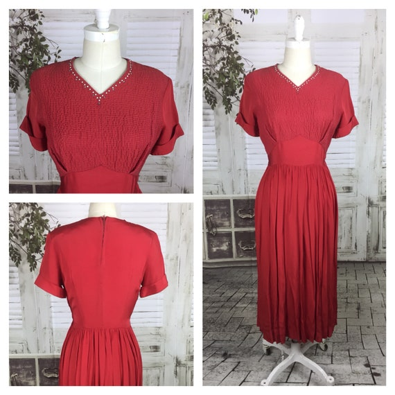 Original 1940s Vintage Red Studded Dress