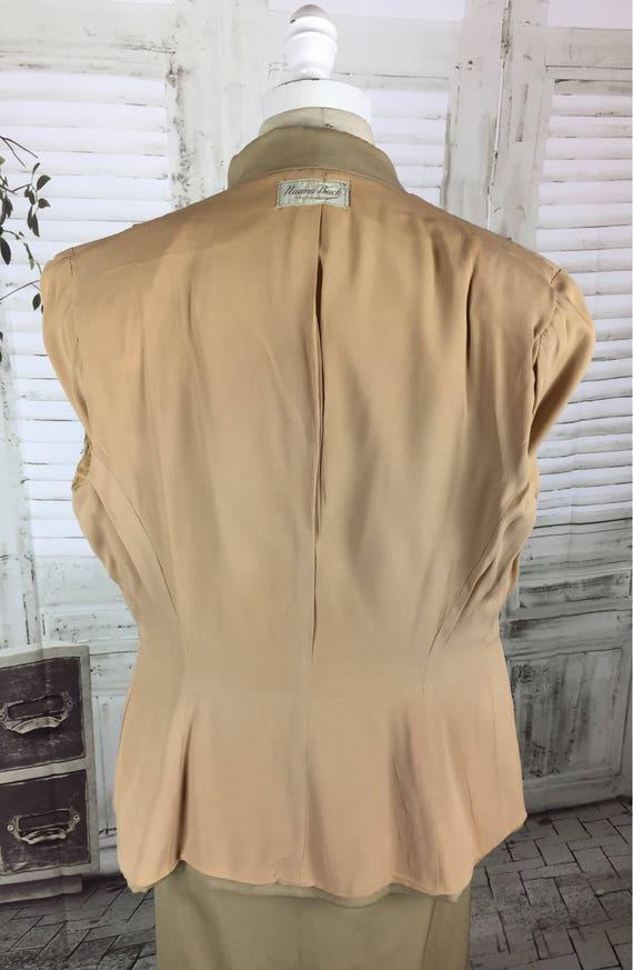 Original 1940s Beige Arrow Gabardine Skirt Suit - image 6
