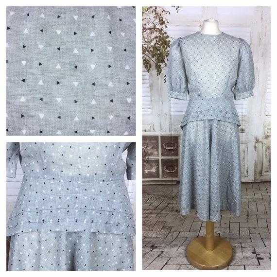 Original 1940s 40s Vintage Grey Blue White Black D