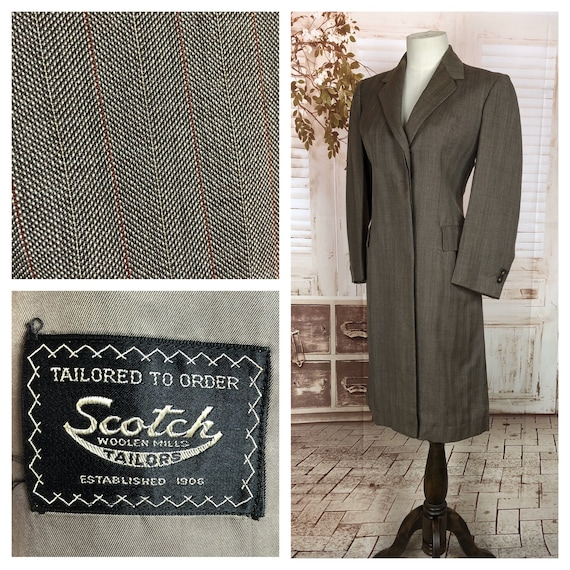 Original Vintage 1940s 40s Grey Brown Lightweight