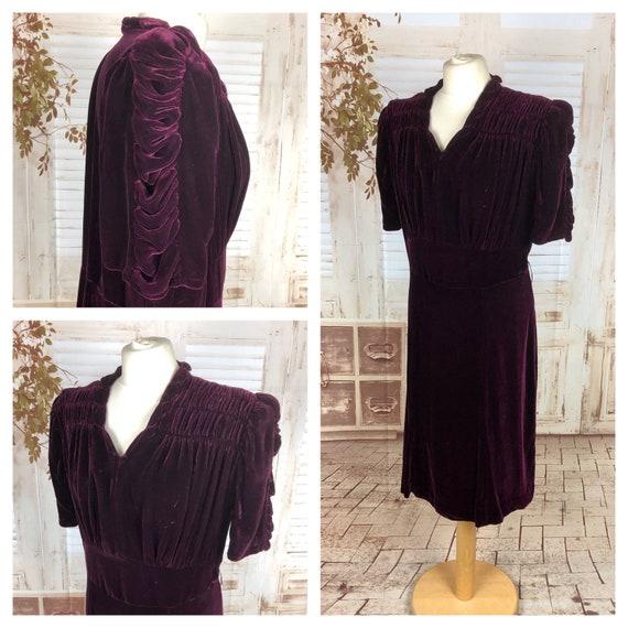 Original 1930s 30s Vintage Aubergine Purple Velvet