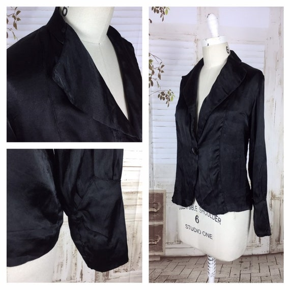 Original 1930s 30s Black Satin Vintage Jacket