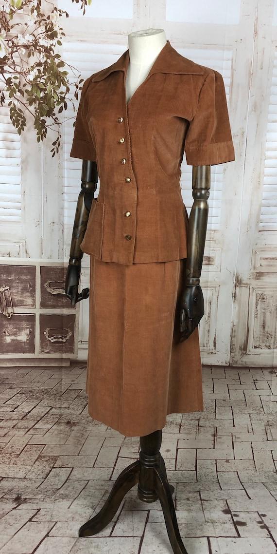 Original 1940s 40s Vintage Rust Corduroy Summer S… - image 4