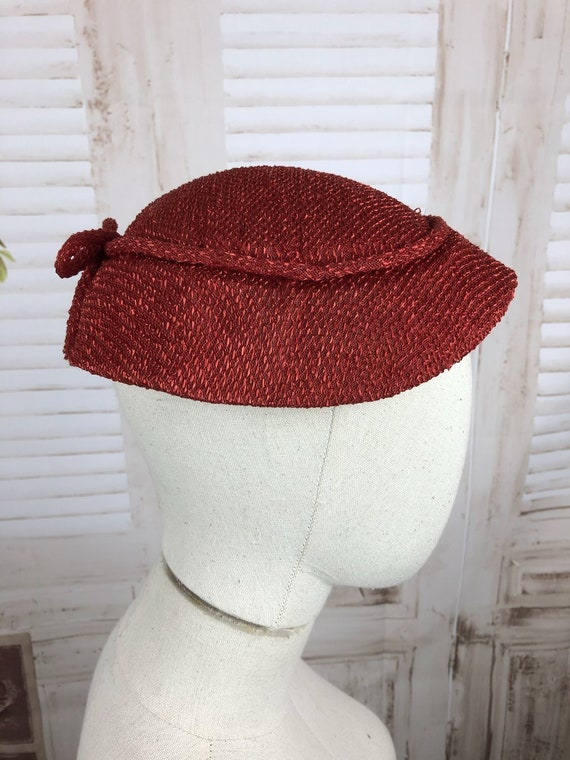 Original 1950s 50s Vintage Red New Look Straw Hat
