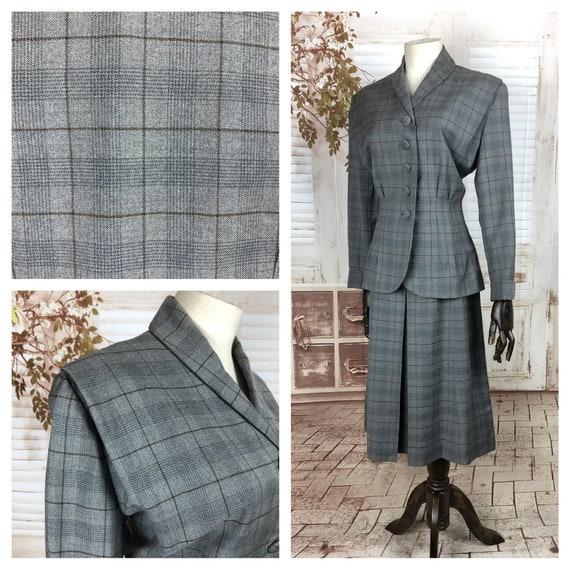 Original 1940s 40s Vintage Grey Wool Plaid Skirt S