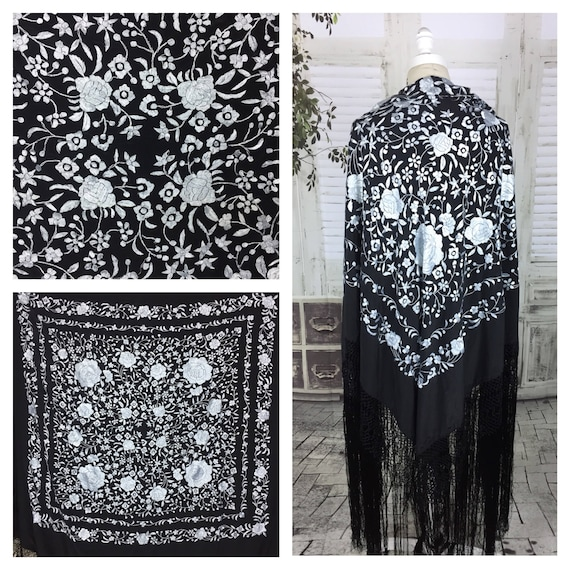 Original 1950s Black And White Floral Embroidered
